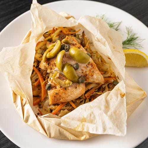 Trout in Papillote with Fiery Habanero and Roasted Garlic