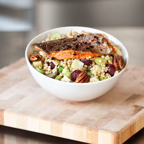 Spicy Pan-Fried Trout Warm Sorghum Salad Bowl
