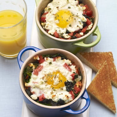 Baked Eggs with Goat Cheese and Green Peppercorns