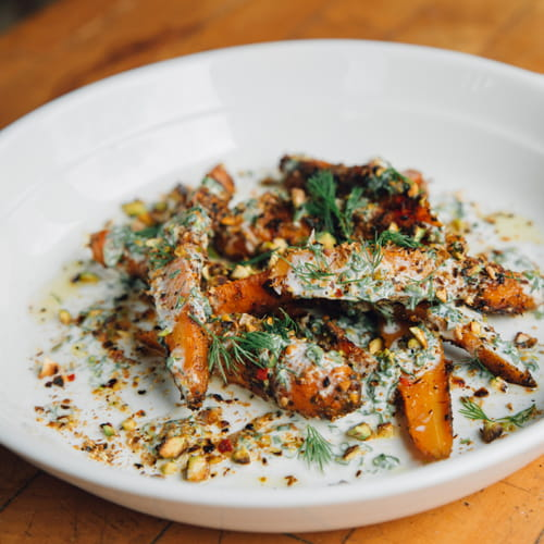 BBQ Carrot Salad, Pistachio & Yogurt