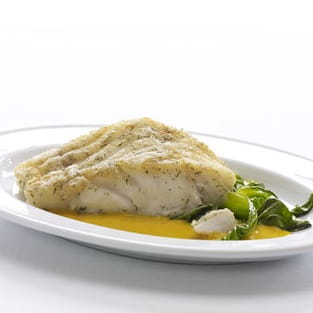 Braised Cod with Gingered Carrot Coconut Sauce