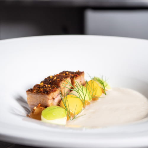 Confit Cauliflower Soup with Pork Belly, Apple and Fennel