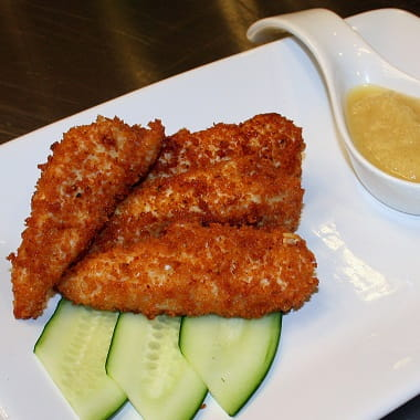 Cedar Flavoured Chicken Tenders with Pineapple and Pear Sauce