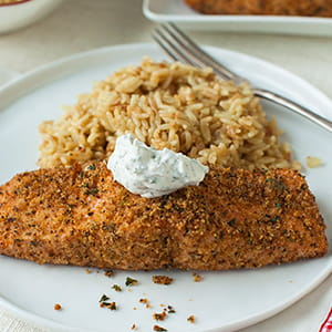 Broiled Salmon with Cheddar Bay Panko Topping