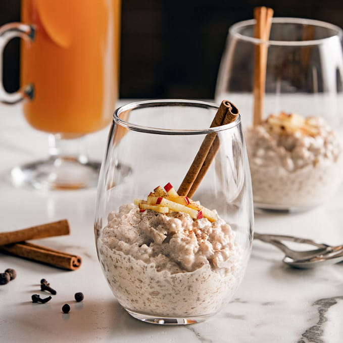 "Farro ""Rice"" Pudding with Mulled Apple Cider"