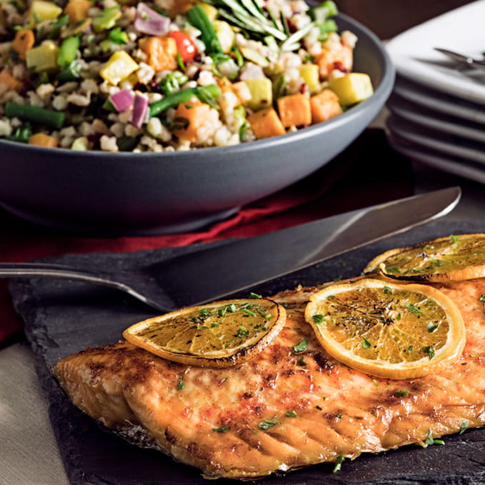Orange Roasted Salmon w Barley Pilaf