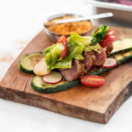 Maple Seared Tuna with Grilled Zucchini, Charred Romaine, Fresh Grape Tomato Salad and Ponzu