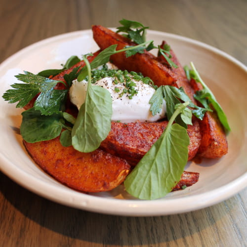 Patatas Bravas with Poached Egg and Herbs