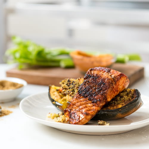 Spice Rubbed Pickerel with Quinoa Stuffed-Oven Roasted Squash