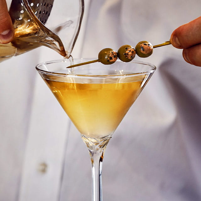 """The Mensch"" Black Pepper Infused Dirty Martini"