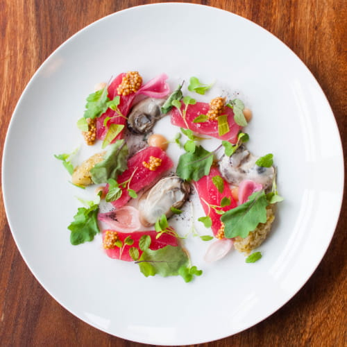 Tuna Crudo with Poached Oysters