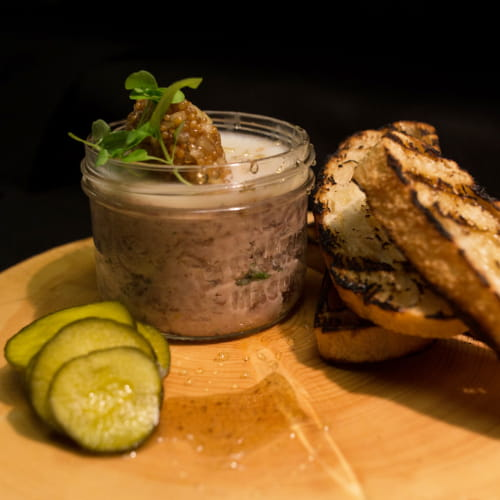 Potted Boar Rillette with Apple Mustard and Grilled Ciabatta