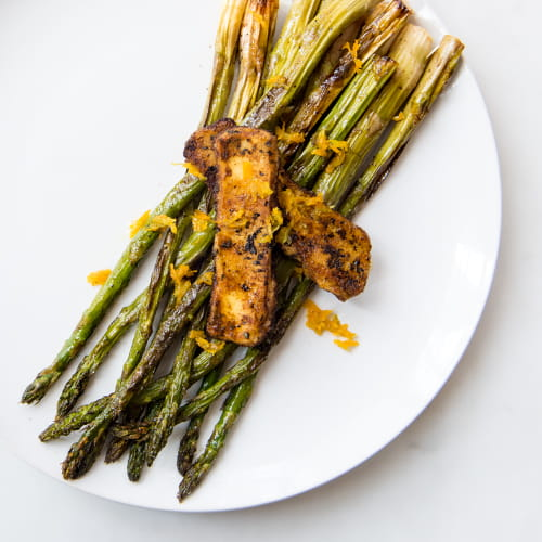Roasted Asparagus with Halloumi and Citrus-Honey Drizzle