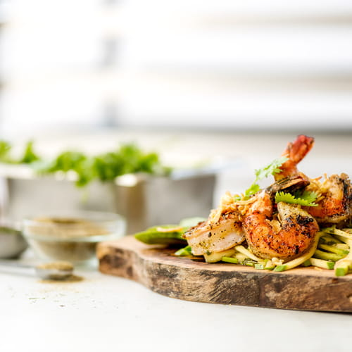 Grilled Black Pepper Shrimp with a Green Mango & Avocado Slaw