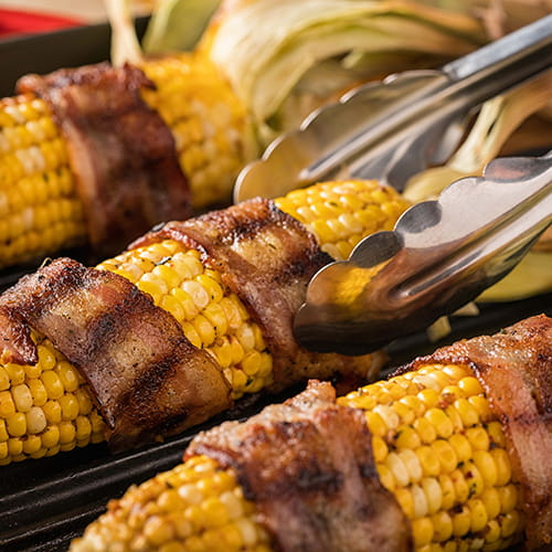 Bacon Wrapped Grilled Corn with Maple Bacon Butter