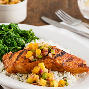 Grilled Atlantic Salmon with Mango Chipotle Relish