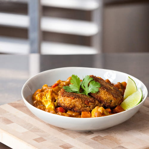 Vegan Spicy Lentil Rice Cake with Vegetable Curry