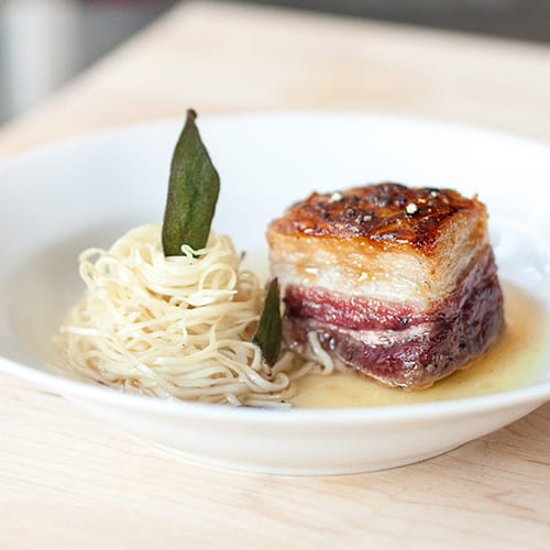 Pumpkin Consommé, Roasted Cinnamon Honey Glazed Pork Belly Ramen and Fried Sage