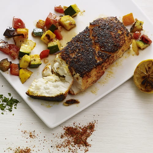Crusted Fish and Ratatouille a la Plancha
