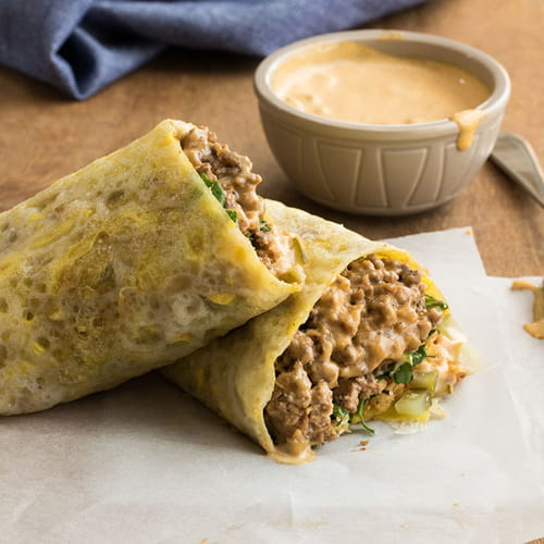 Asian Egg Crepes with NY Style Chopped Cheese Filling