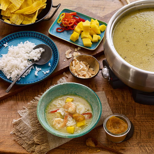 Caribbean Hot Pot Broth with Papaya Pica Sauce