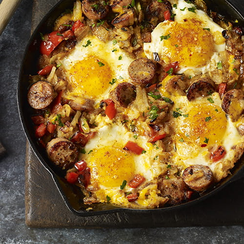 Smokehouse Maple Chicken Sausage and Egg Hash