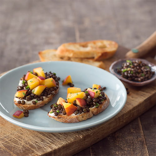 Pickled Peach and Black Beluga Lentil Toasts