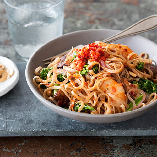 Sambal Noodles with Shrimp and Chinese Broccoli