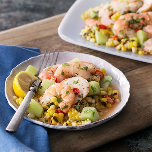 Shrimp Escabeche al Rocoto (Marinated Shrimp with Grilled Corn and Chilies)