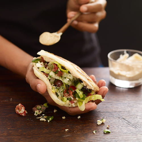 Greek Tabbouleh Salad Arepas with Chipotle Yogurt Sauce