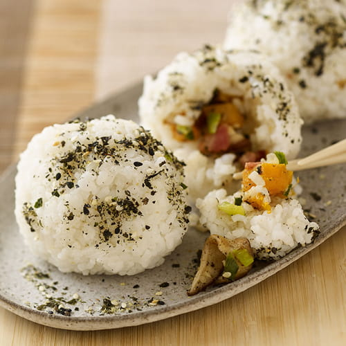 Shiitake & Bacon Rice Balls with Spicy Ginger Sauce