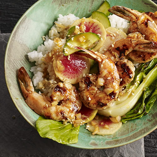 "Grilled Sesame Garlic Shrimp ""Poke"" with Pickled Radish and Rice"
