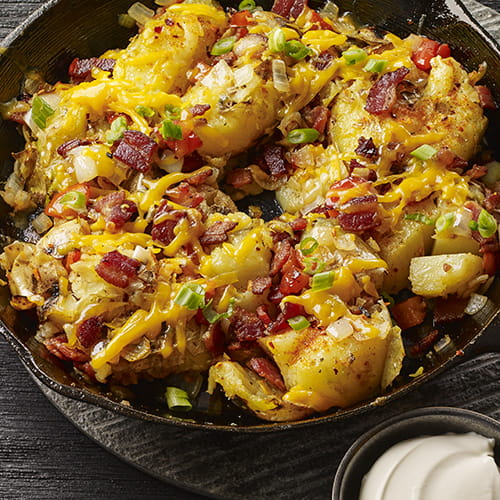 Grilled & Loaded Smashed Potatoes