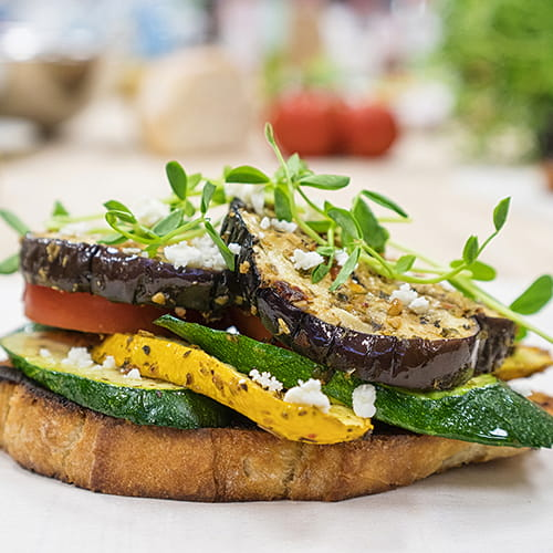 Grilled Eggplant Open Faced Sandwich