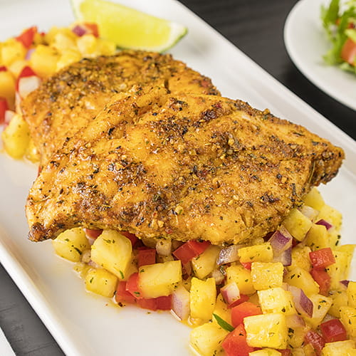 Island Curry Rockfish with Hot Pineapple Salsa