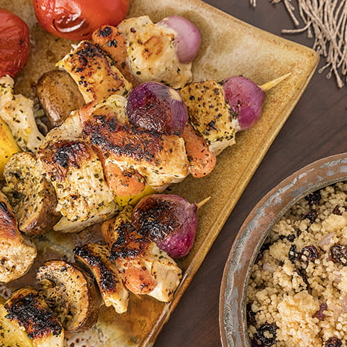 Moroccan Chicken Kabobs with Couscous Pilaf