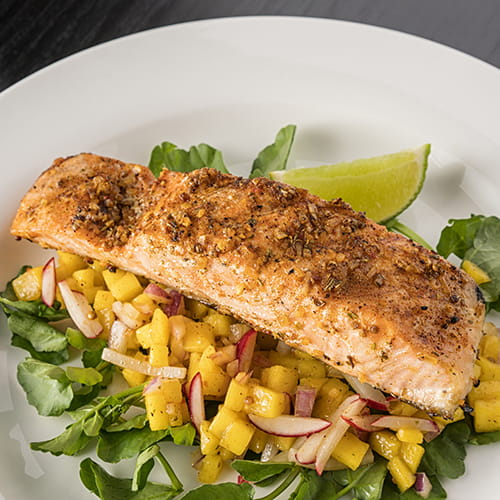 Smoky Grilled Salmon with Mango and Lime Salsa