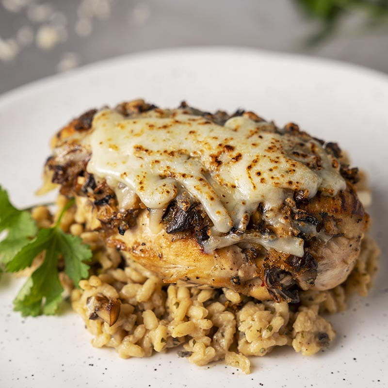 Baked Chicken with Mushroom Tapenade