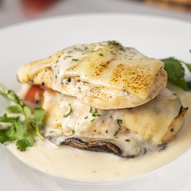 Grilled Chicken & Portobello Stack w Asiago Cream