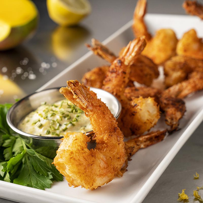 Lemon and Coconut Prawns with Mango and Chive Dip