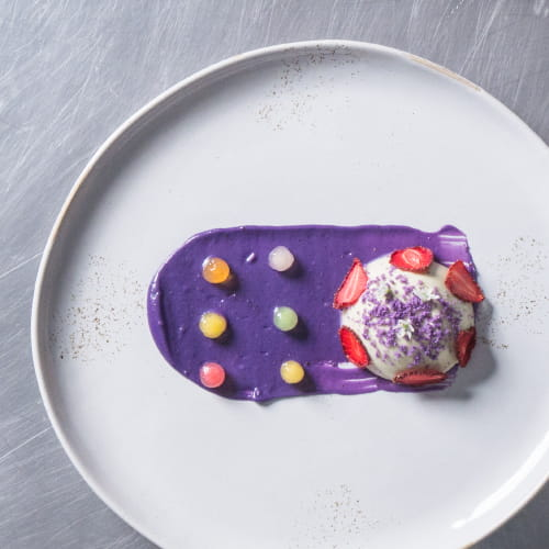 Green Tea Panna Cotta with Candied Boba, Ube Cookie Cream & Dehydrated Strawberry