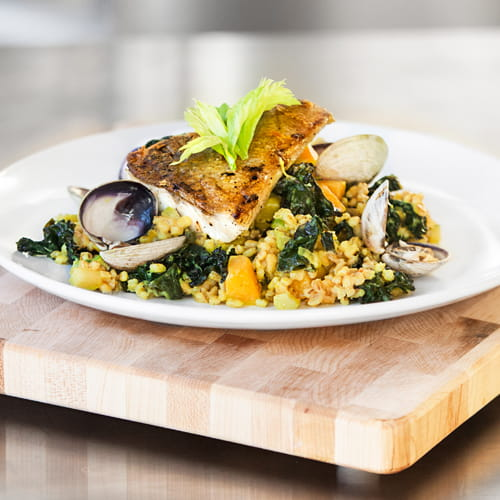 Pan Roasted Pickerel, Maple Bacon Spiced Kale and Barley Risotto
