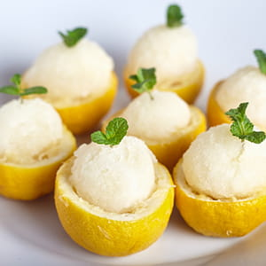 Meyer Lemon Limoncello and Thyme Sorbet