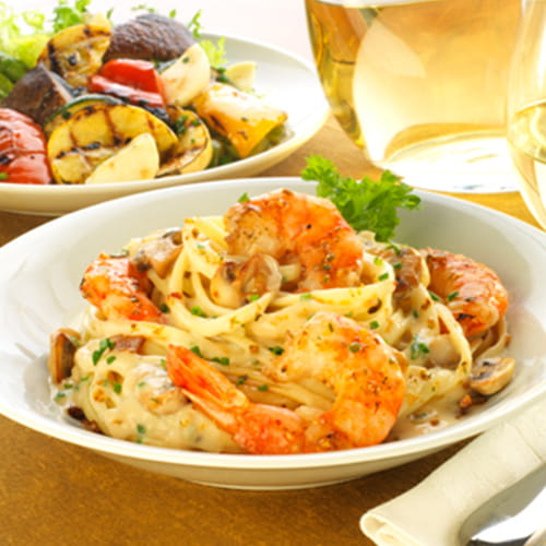 Maple Bacon Linguini with Alfredo Sauce and Grilled Shrimp