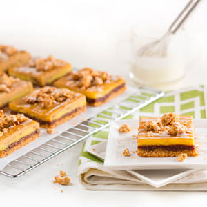 Cinnamon Oatmeal Custard Bars with Rum Raisin Sauce
