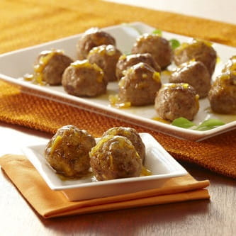 Roasted Garlic Turkey Meatballs with Cherry Jam