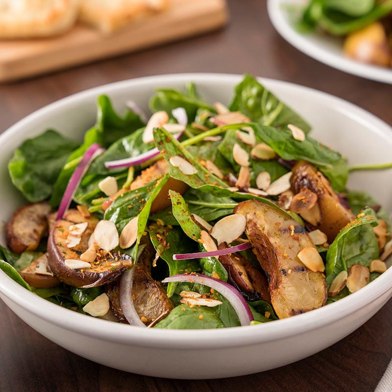 Piri Piri Spinach salad with Grilled Peaches