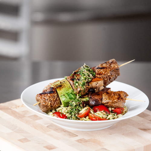 Chimichurri Steak Kebabs with Summer Orzo