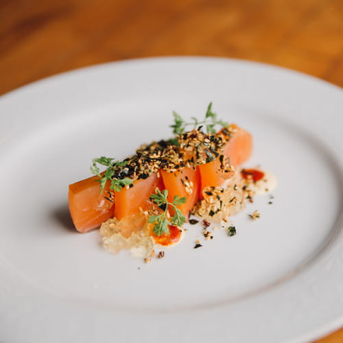 Salmon Crudo, Tomato, Bonito and Rosemary