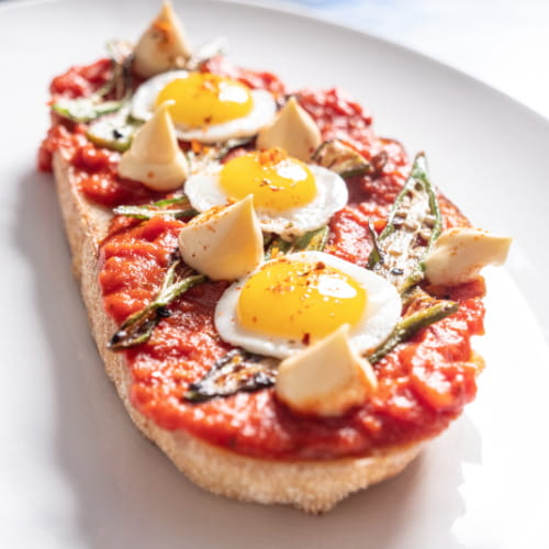 Shakshuka Toast with Quail Eggs & Piri Piri
